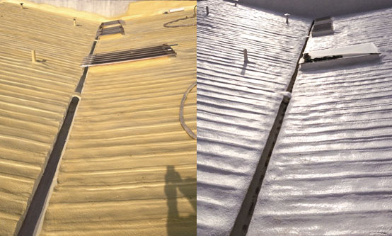 SPF Roofing Insulation System Repairs Leaking Metal Roof